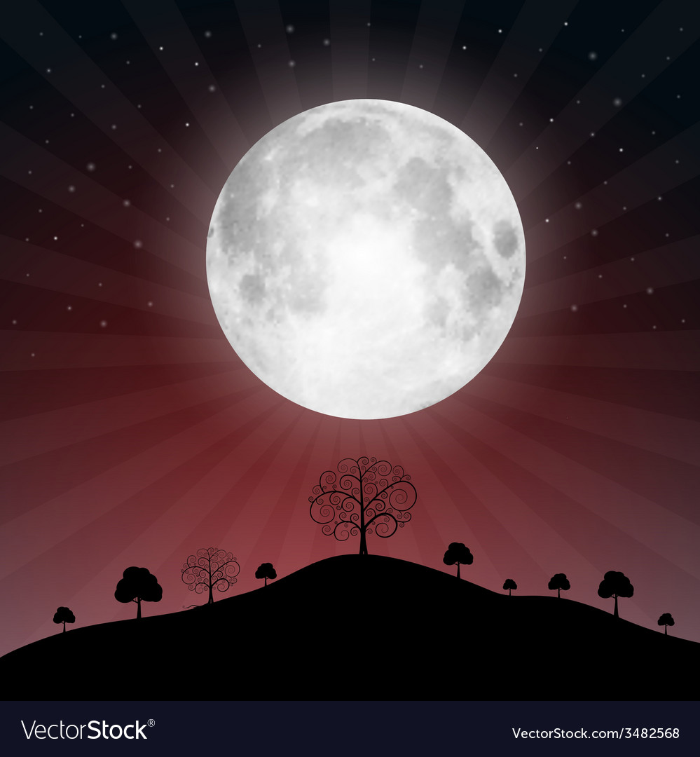 Full moon with stars and trees - vector | Price: 1 Credit (USD $1)
