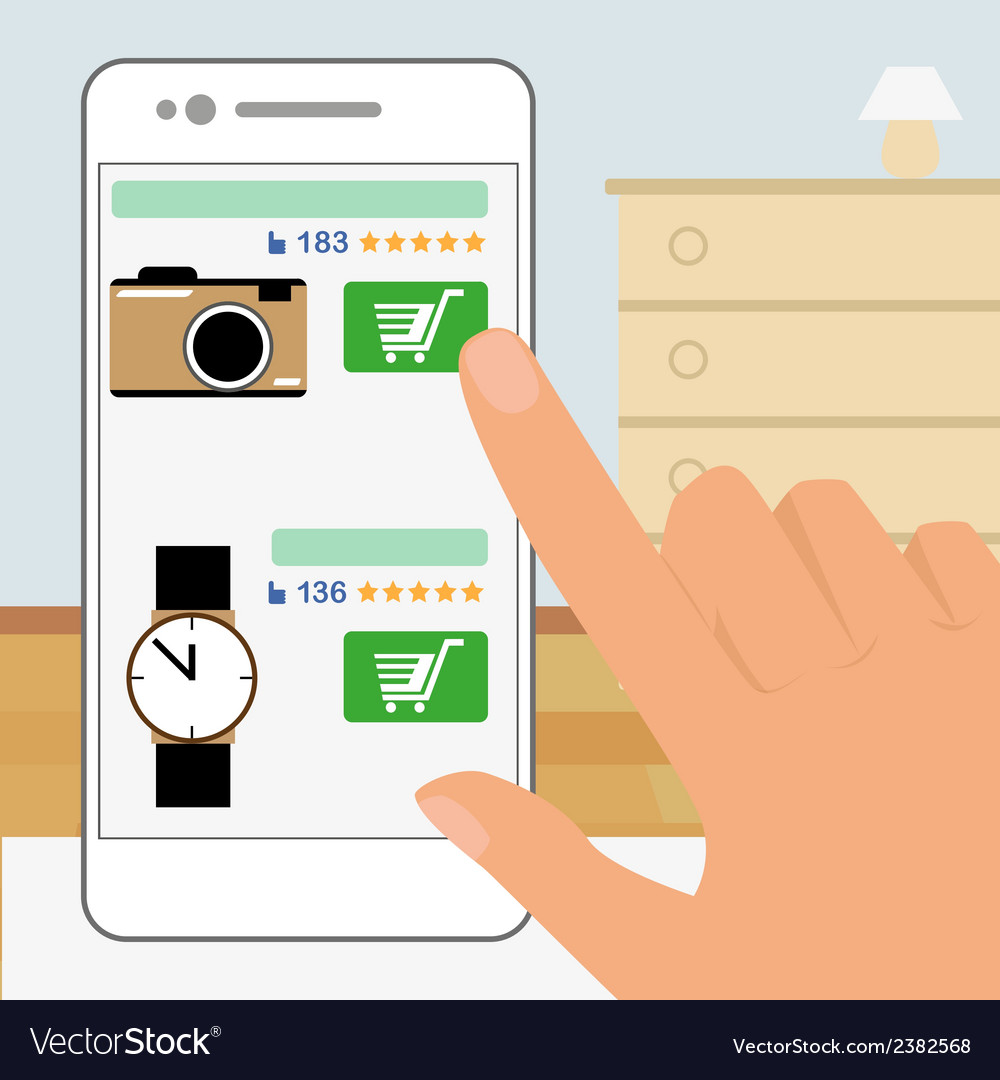 Human hand is holding smartphone and doing online vector | Price: 1 Credit (USD $1)