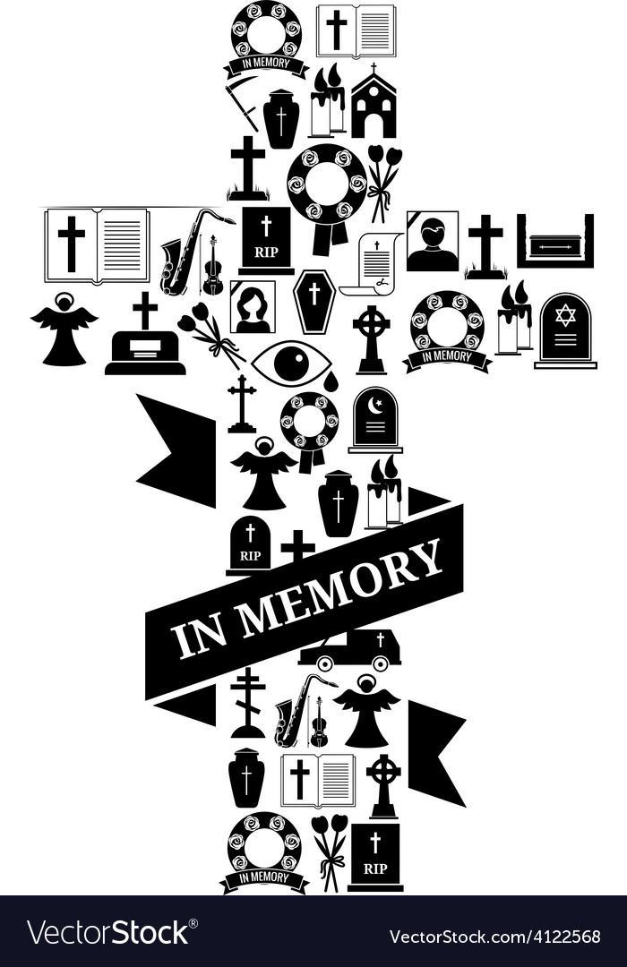 In memory concept - funeral cross icon with text vector | Price: 1 Credit (USD $1)