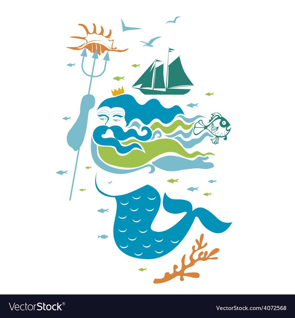 Ocean king character vector | Price: 1 Credit (USD $1)