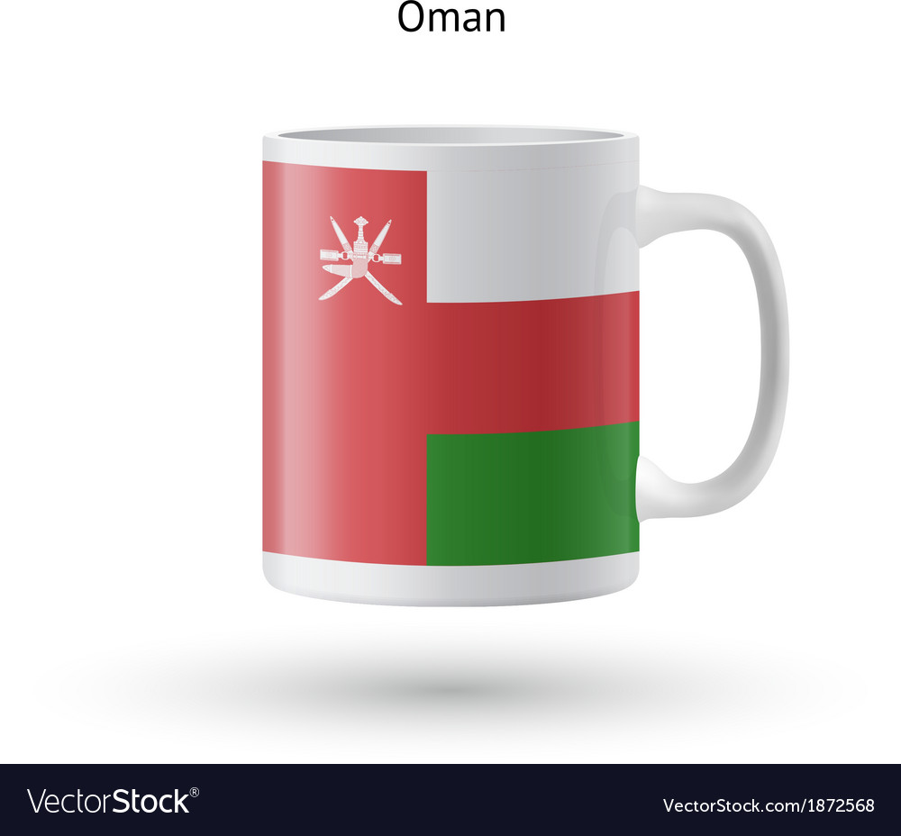 Oman flag souvenir mug on white background vector | Price: 1 Credit (USD $1)