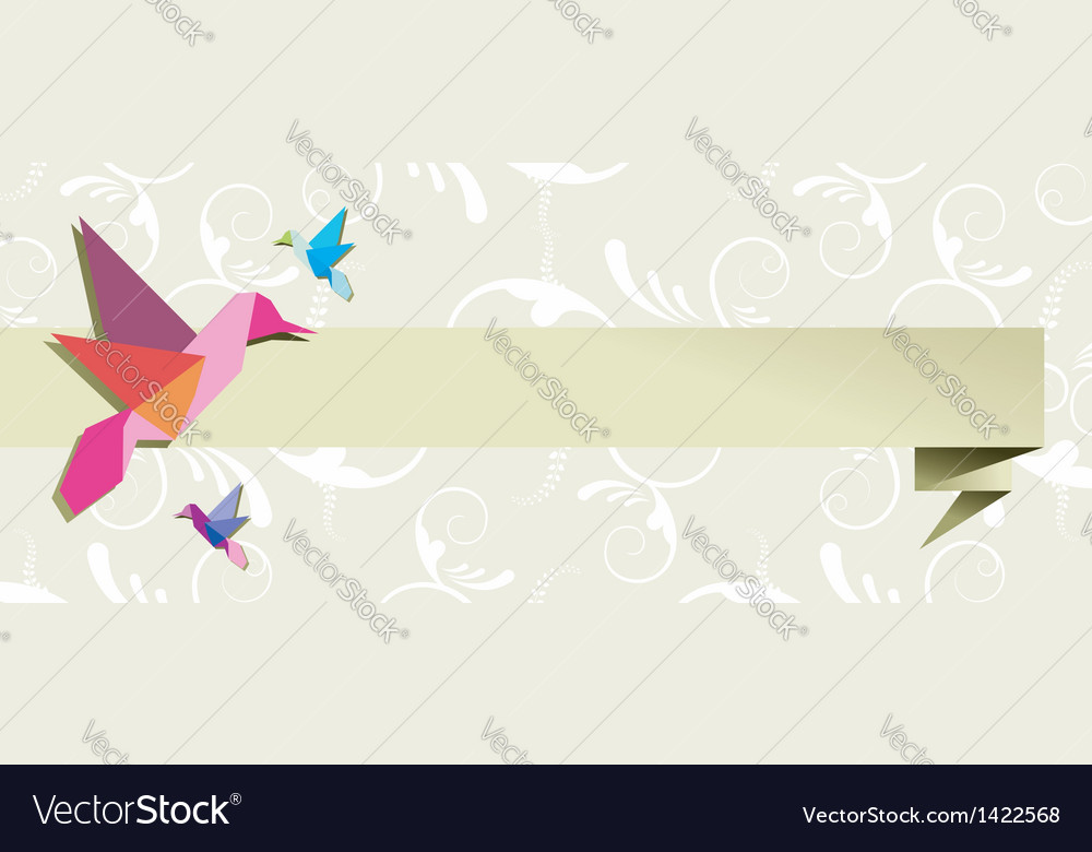 Origami hummingbird floral banner vector | Price: 1 Credit (USD $1)