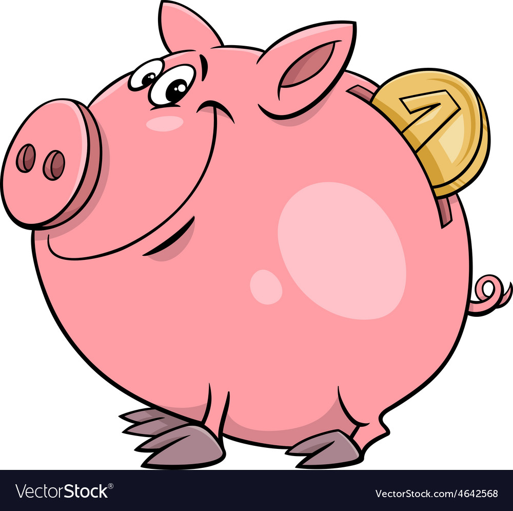 Piggy bank with coin cartoon vector | Price: 1 Credit (USD $1)
