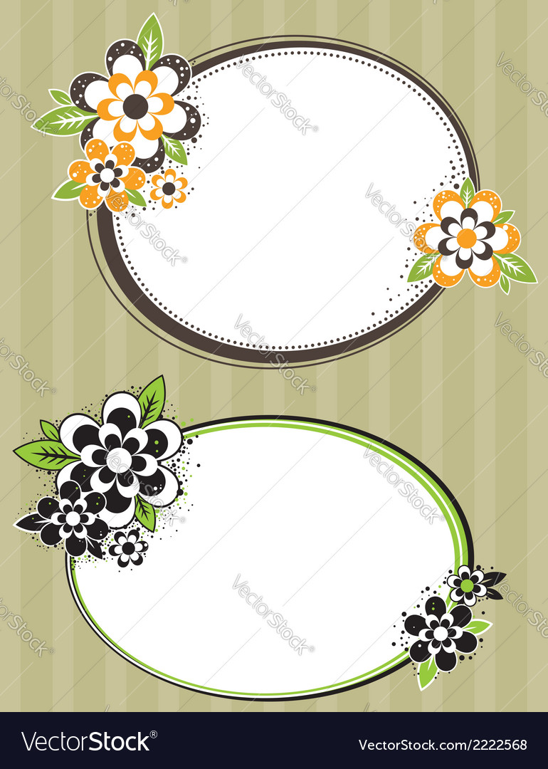Round frame with flowers on striped background vector | Price: 1 Credit (USD $1)