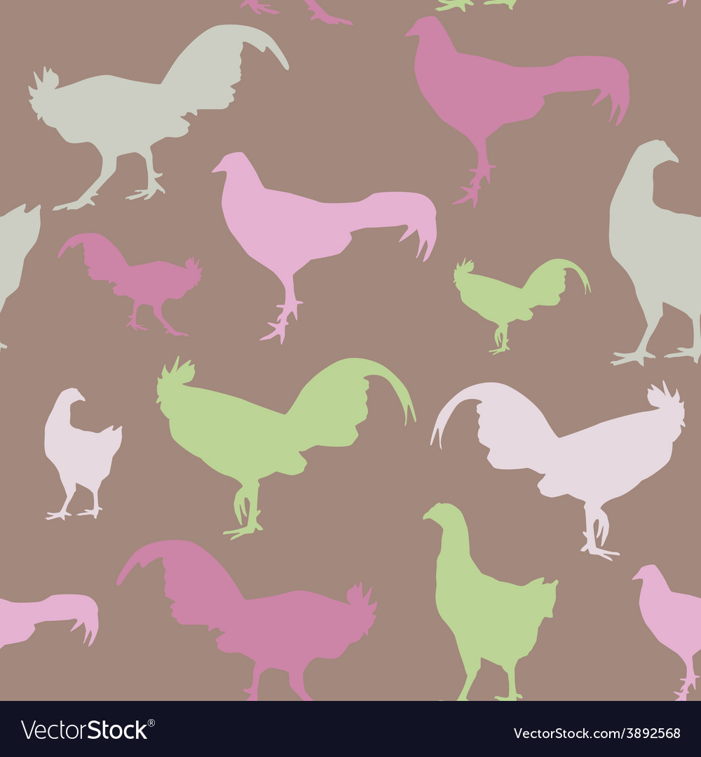 Seamless pattern with chickens and roosters green vector | Price: 1 Credit (USD $1)
