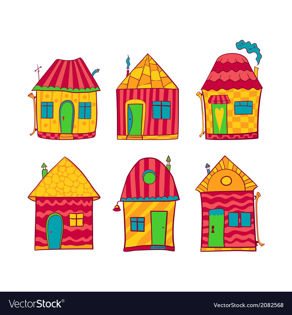 Set colorful houses in cartoon style vector | Price: 1 Credit (USD $1)