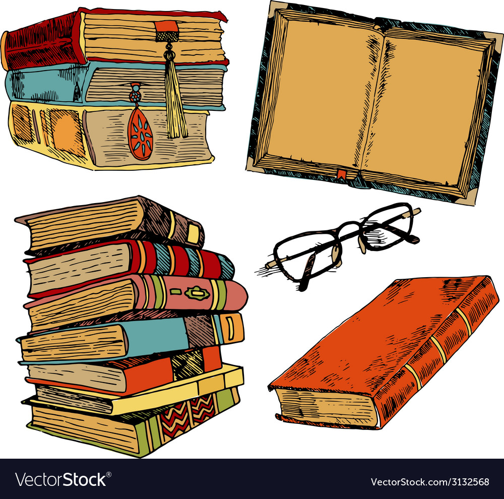Vintage books color sketch vector | Price: 1 Credit (USD $1)