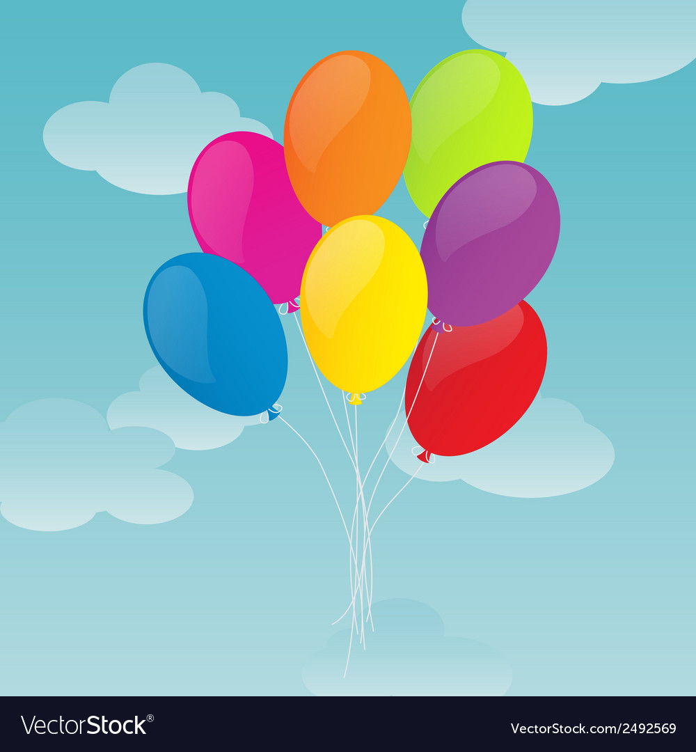 Colorful balloons on blue sky background vector   Price: 1 Credit (USD $1)
