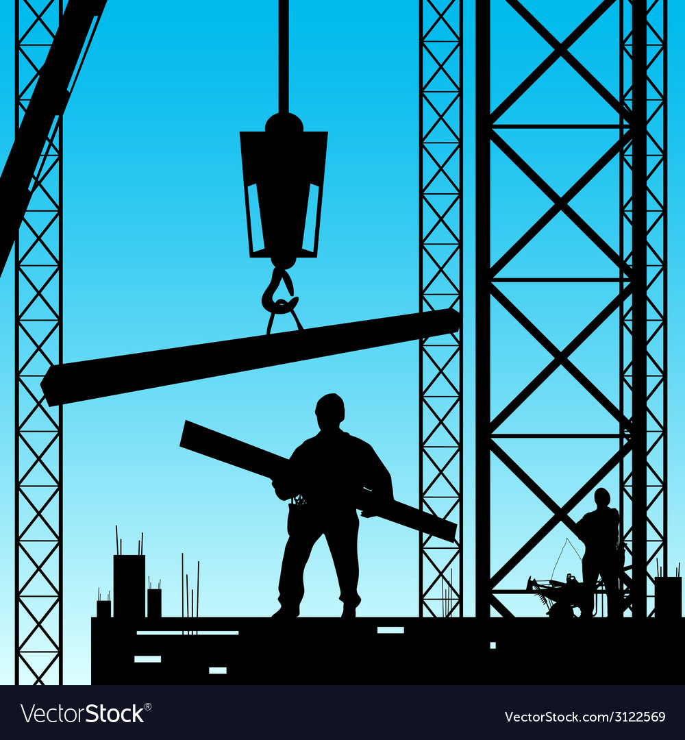 Constuction worker silhouette at work vector | Price: 1 Credit (USD $1)