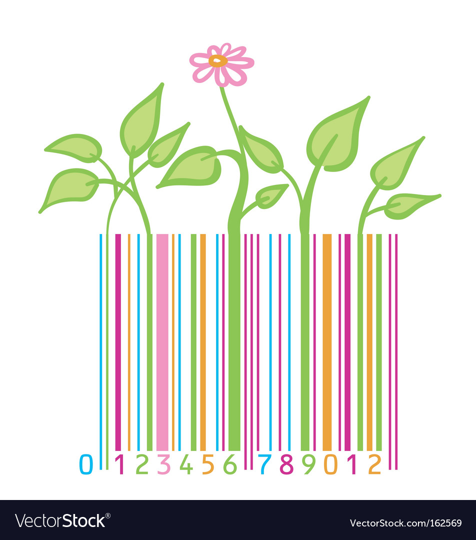 Flower leaves and barcode vector | Price: 1 Credit (USD $1)