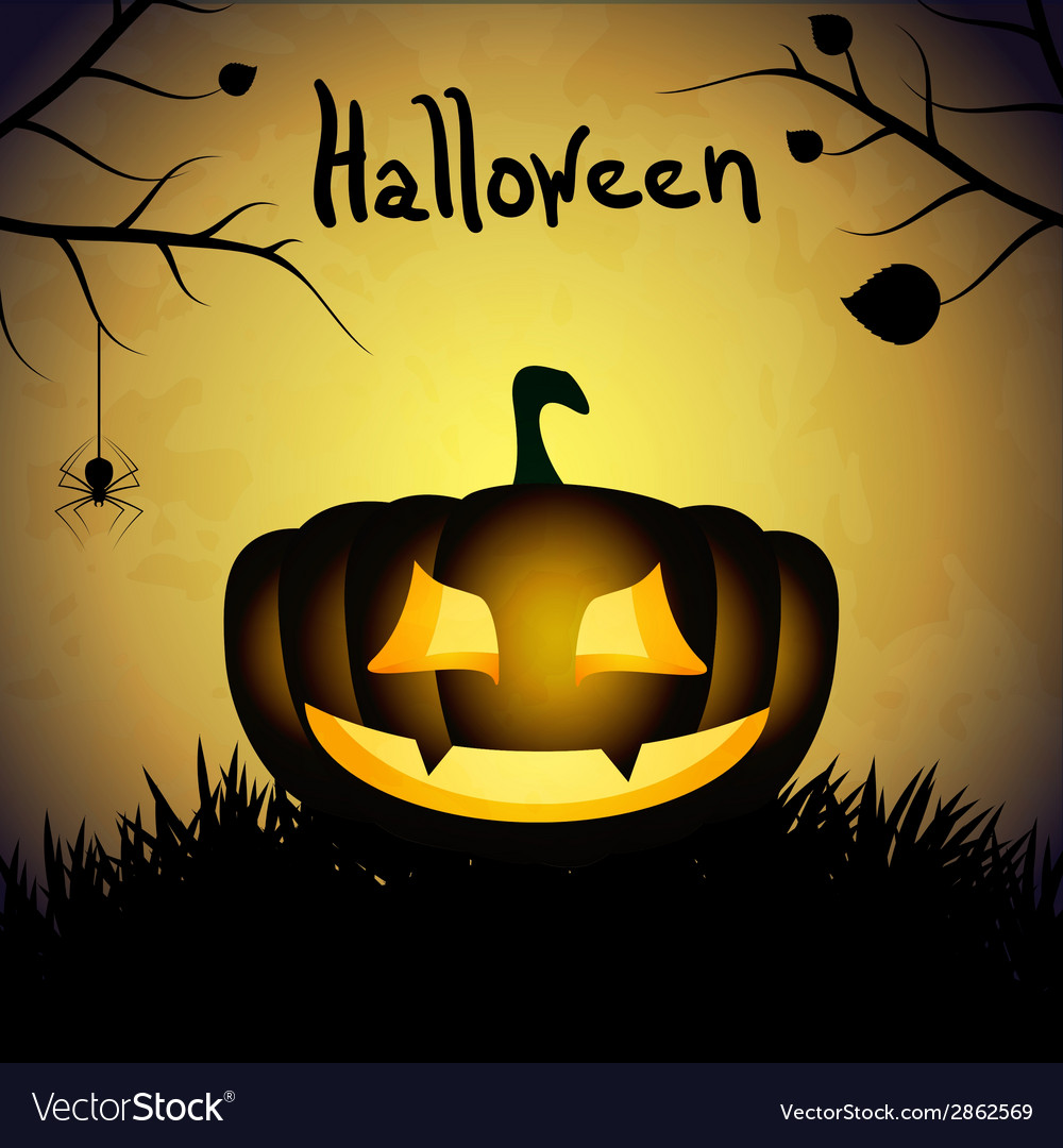 Halloween background with silhouette of pumpkin vector | Price: 1 Credit (USD $1)