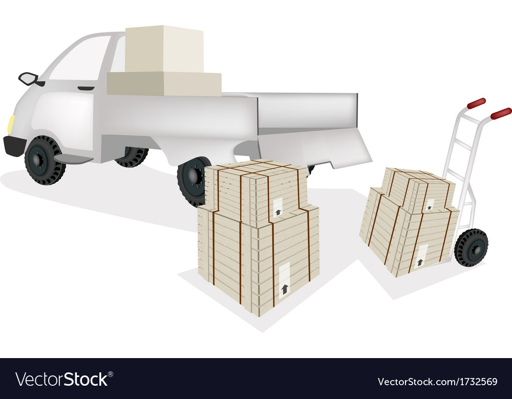 Hand truck loading shipping box into pickup truck vector | Price: 1 Credit (USD $1)