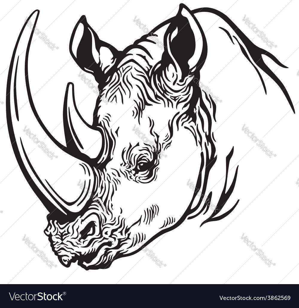 Head of rhino black white vector | Price: 1 Credit (USD $1)