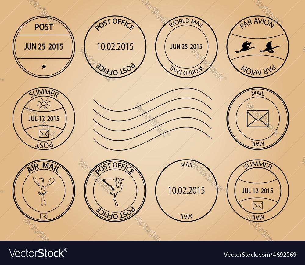 Post stamps on aged background vector | Price: 1 Credit (USD $1)