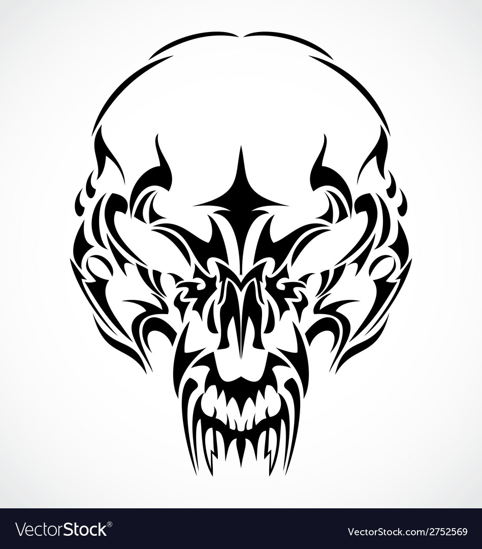 Tribal scary skulls vector | Price: 1 Credit (USD $1)