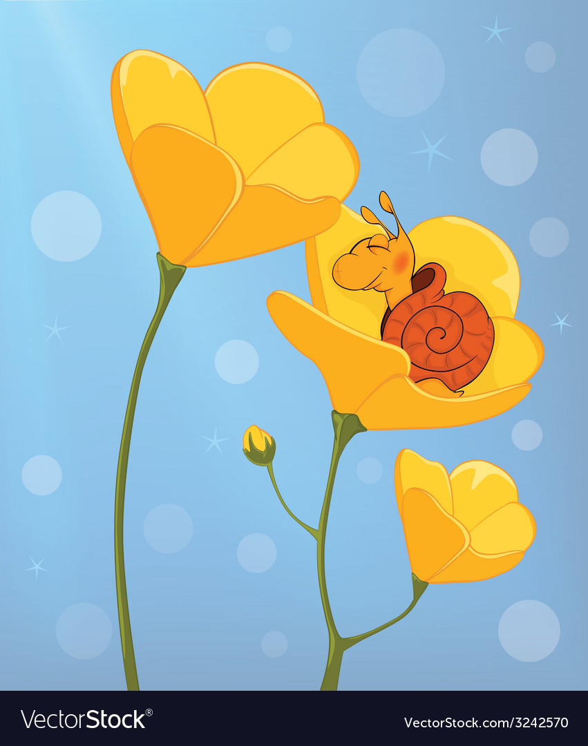 A sleeping snail and a yellow flower cartoon vector | Price: 1 Credit (USD $1)