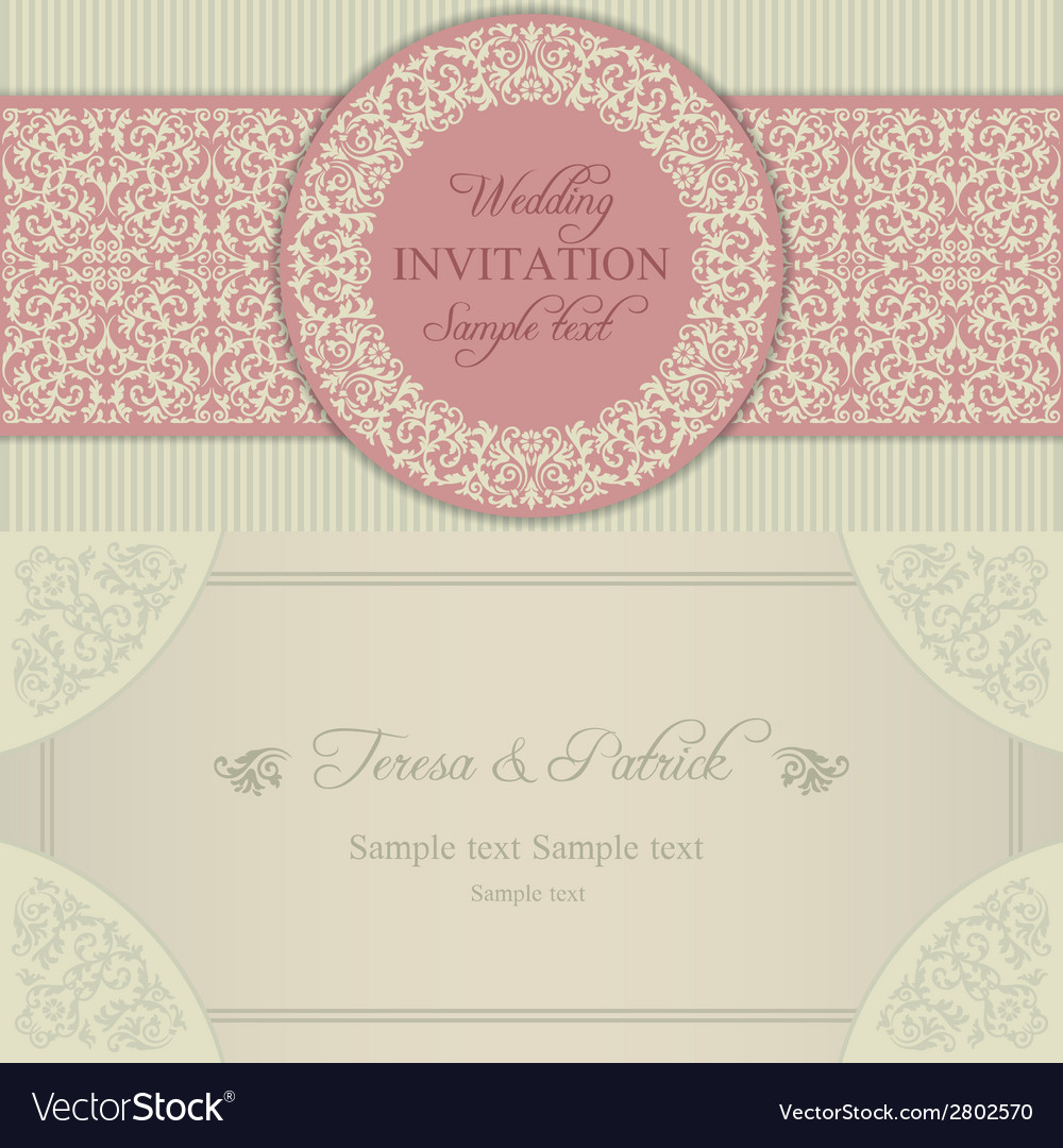Baroque wedding invitation blue and beige vector | Price: 1 Credit (USD $1)