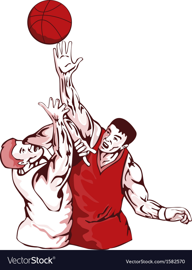 Basketball players rebound vector | Price: 1 Credit (USD $1)