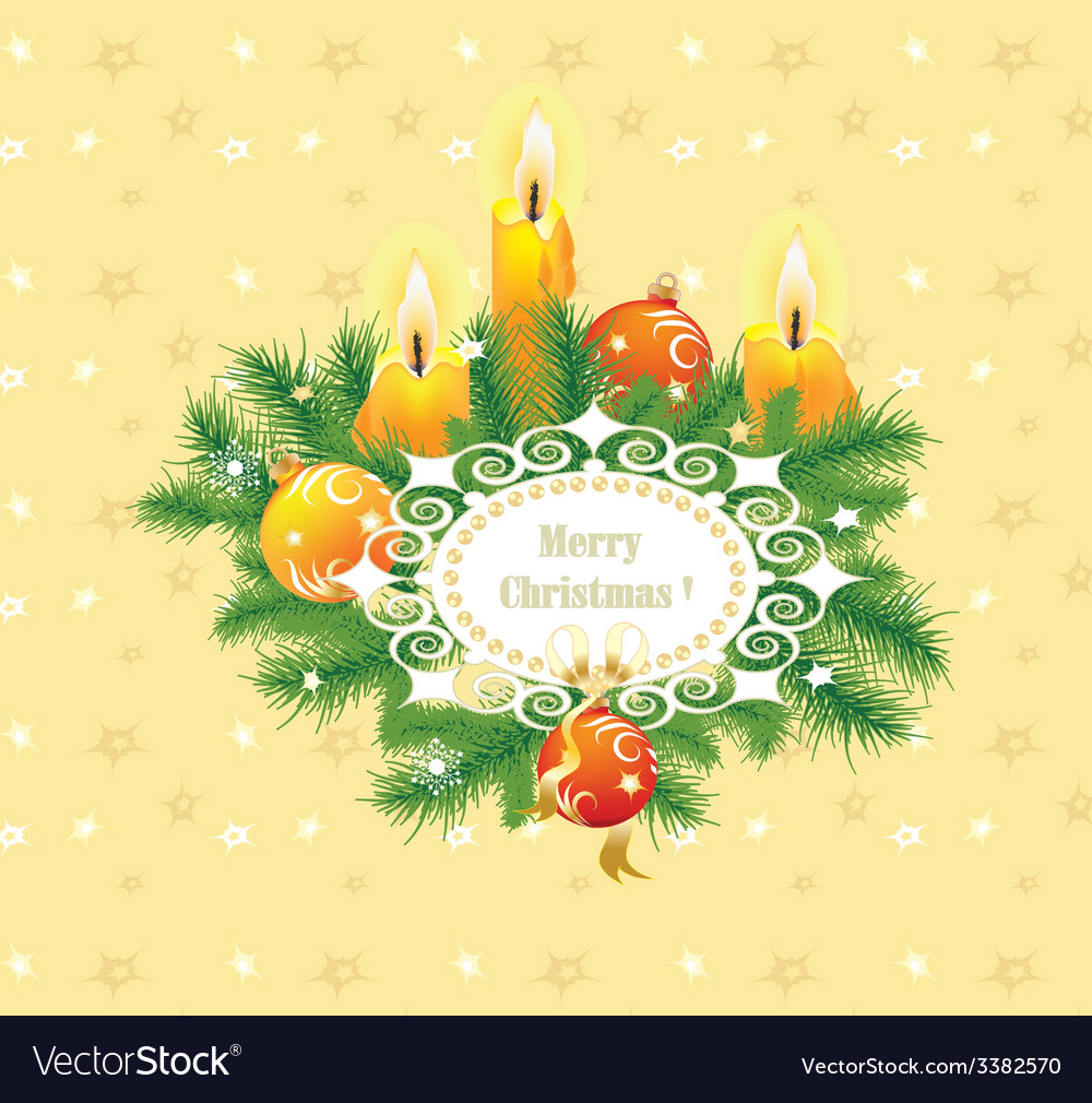 Candles and fir branches vector | Price: 1 Credit (USD $1)