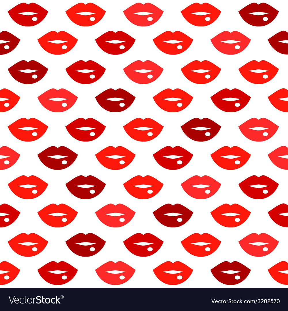 Cute fun red lips kiss seamless pattern vector | Price: 1 Credit (USD $1)