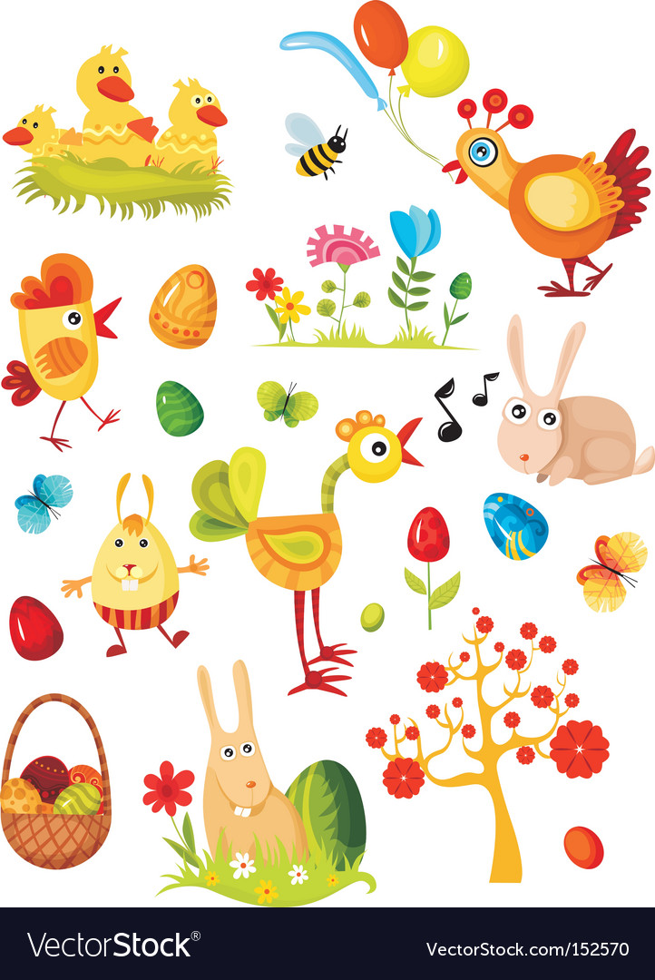 Easter elements set vector | Price: 3 Credit (USD $3)