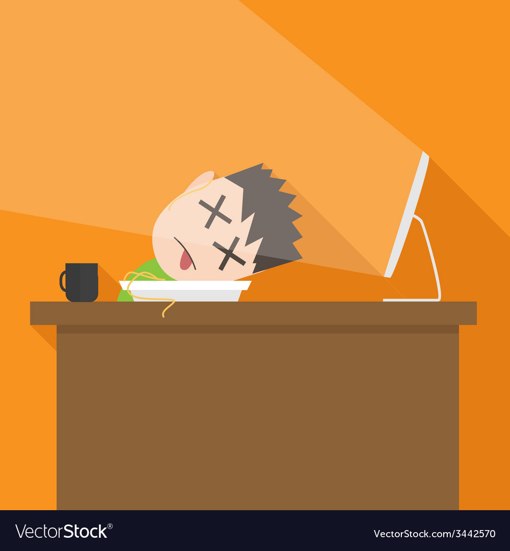 Flat simple of tired man vector | Price: 1 Credit (USD $1)