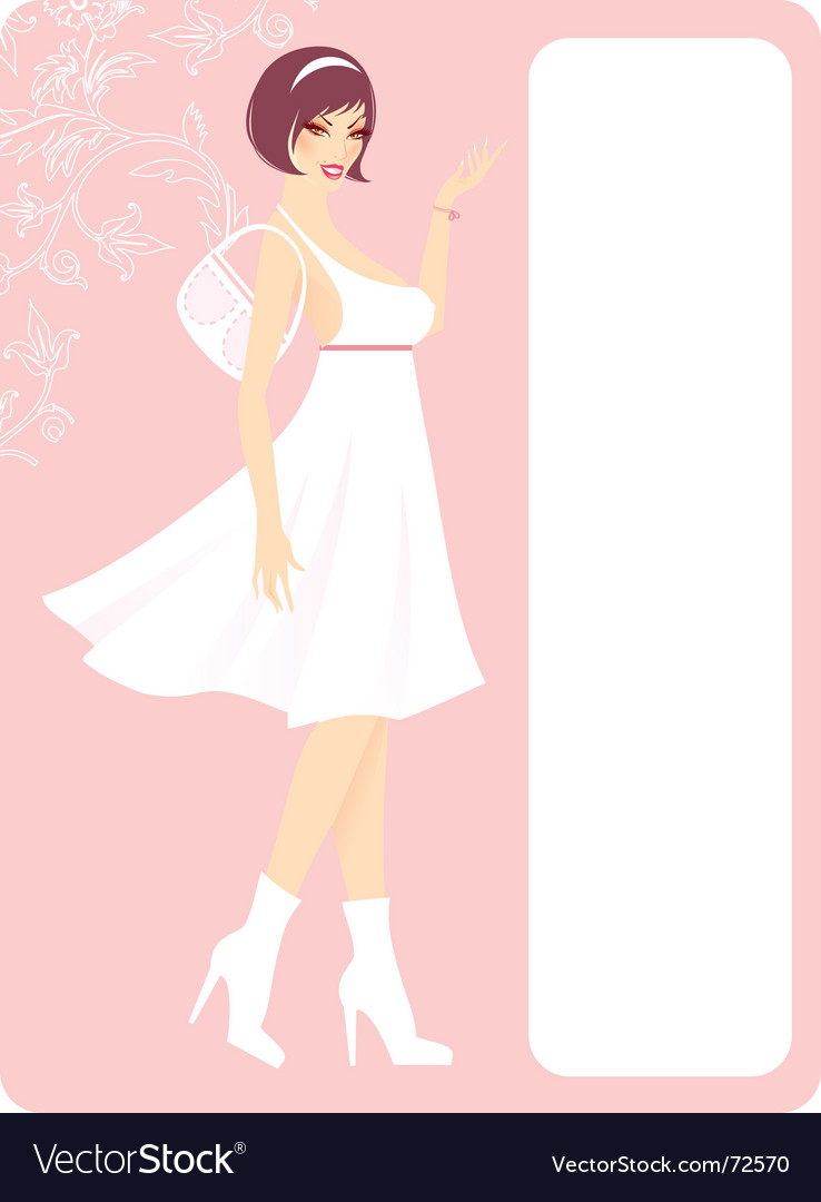 Girl in white dress vector | Price: 3 Credit (USD $3)
