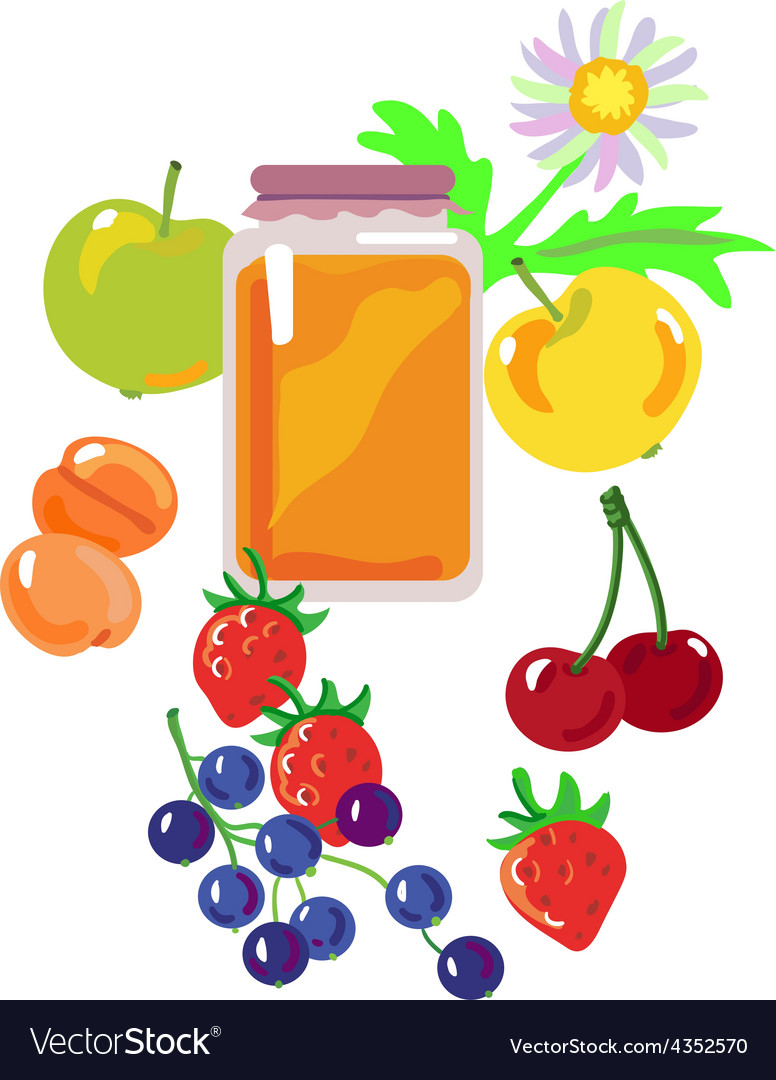 Honey and fruits and berries vector | Price: 1 Credit (USD $1)