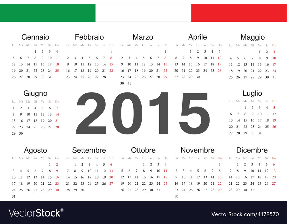 Italian circle calendar 2015 vector | Price: 1 Credit (USD $1)