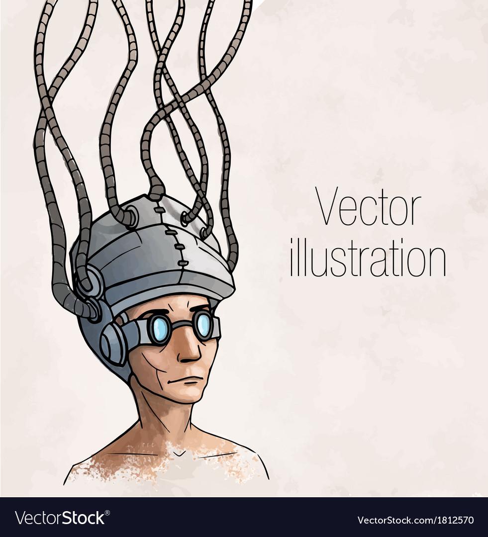 Man wearing a brain-control helmet digital vector   Price: 1 Credit (USD $1)