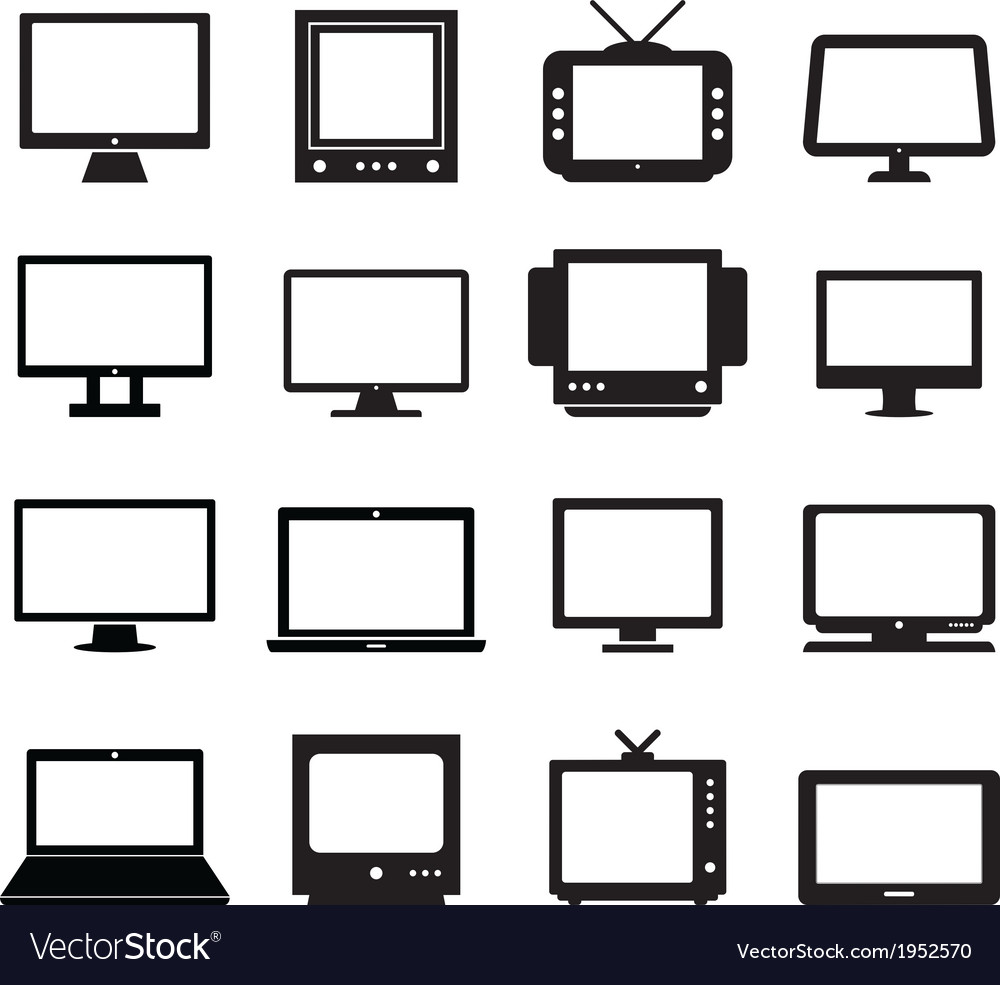 Monitor set vector | Price: 1 Credit (USD $1)