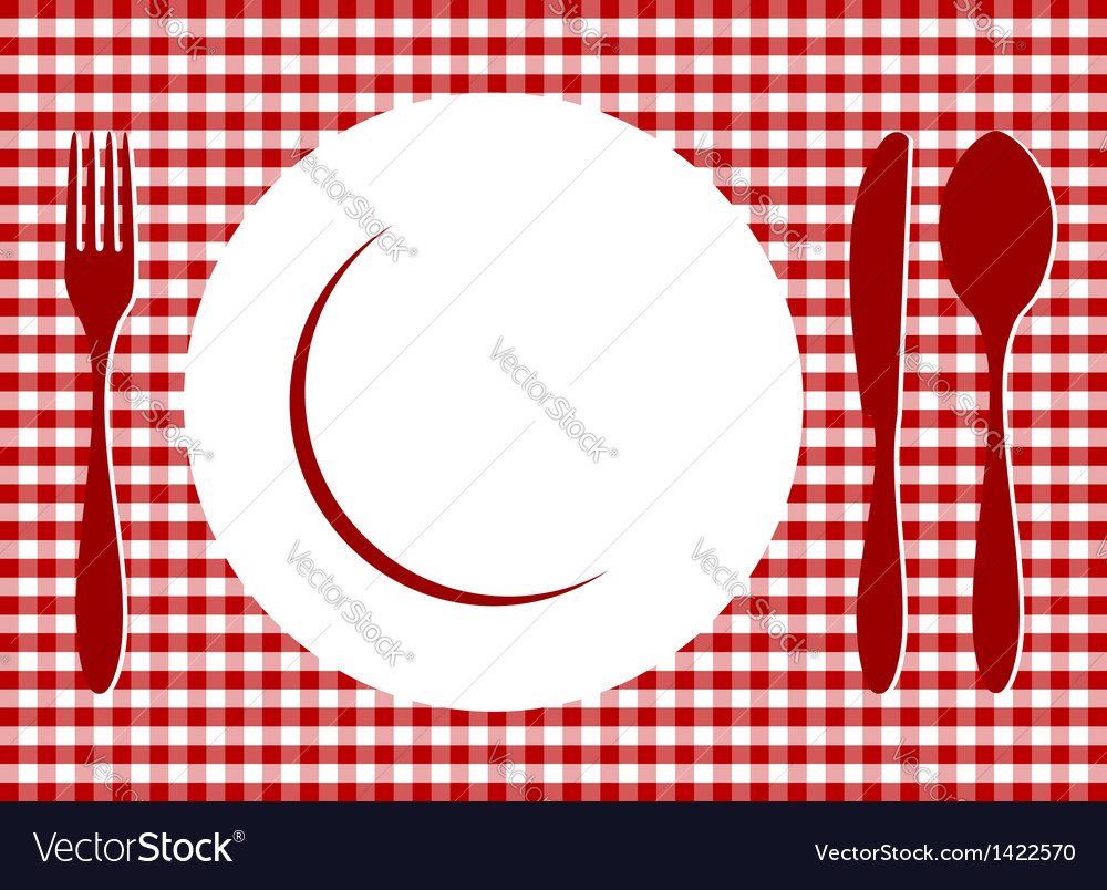 Place setting red tablecloth vector | Price: 1 Credit (USD $1)