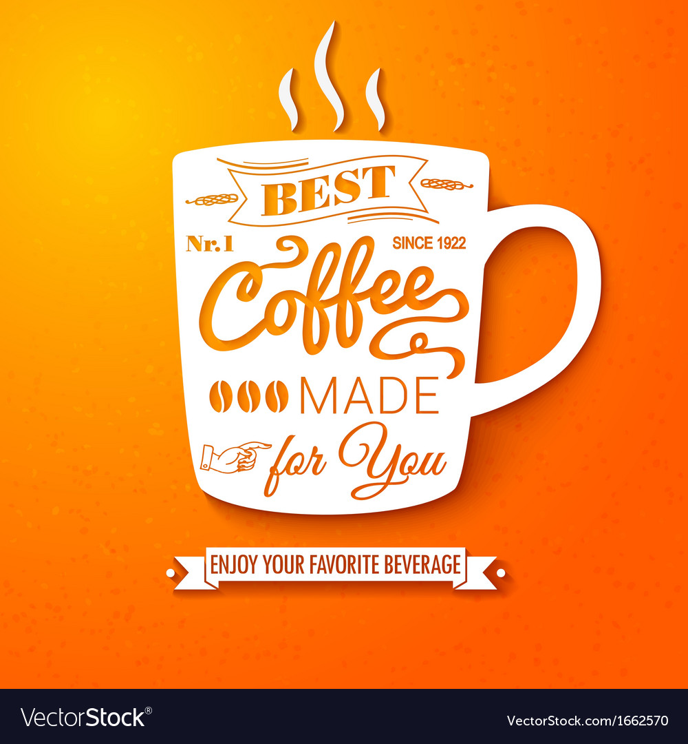 Poster with coffee cup on a bright cheerful vector | Price: 1 Credit (USD $1)