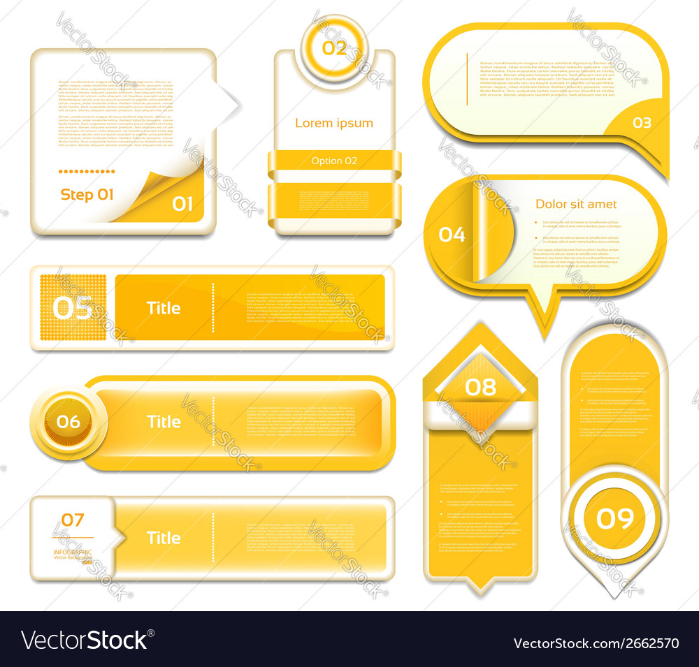 Set of orange progress version step icons eps 10 vector | Price: 1 Credit (USD $1)