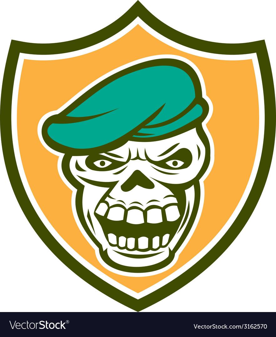 Skull beret shield retro vector | Price: 1 Credit (USD $1)