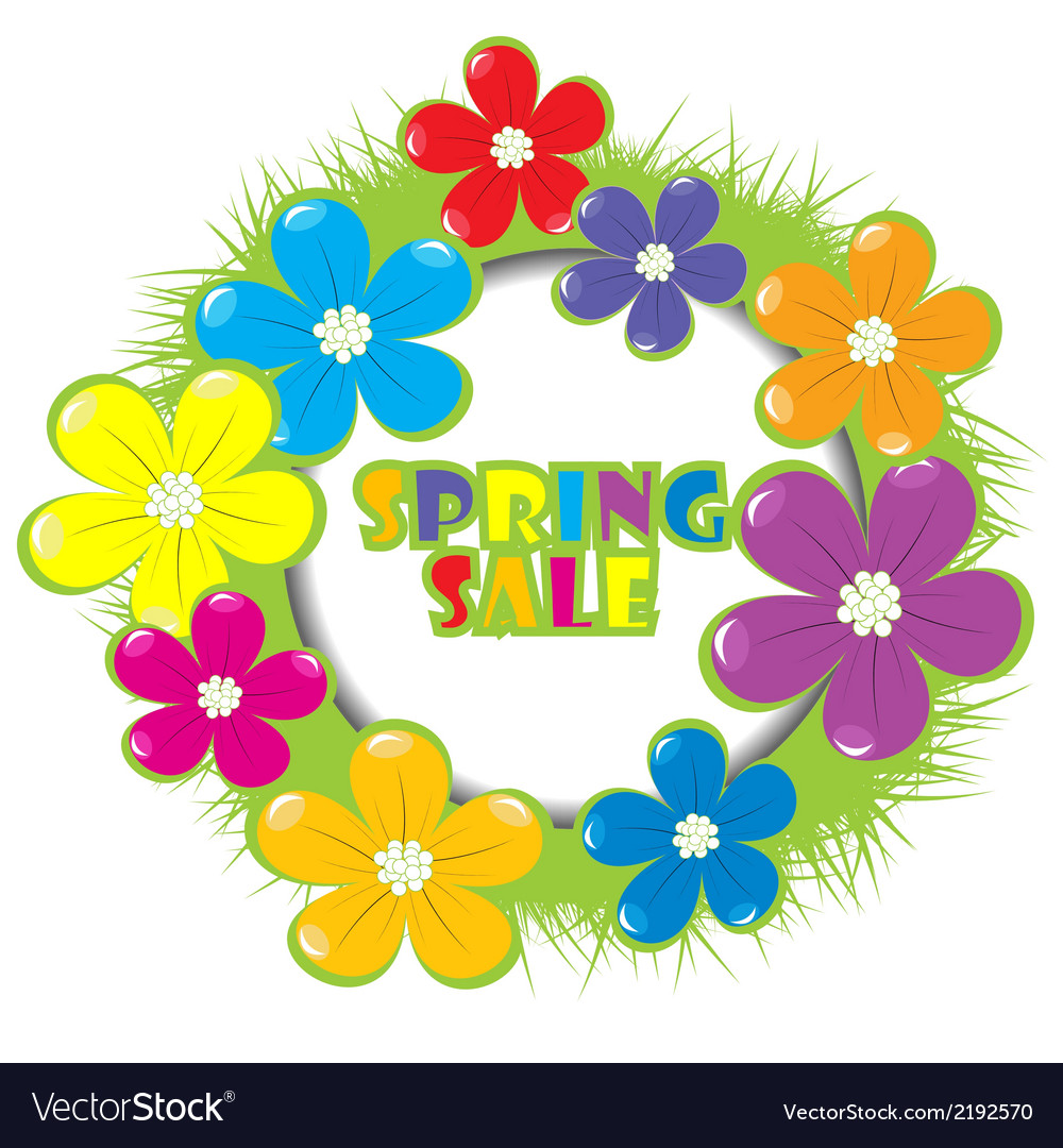 Spring sale advertising with grass and flowers vector | Price: 1 Credit (USD $1)