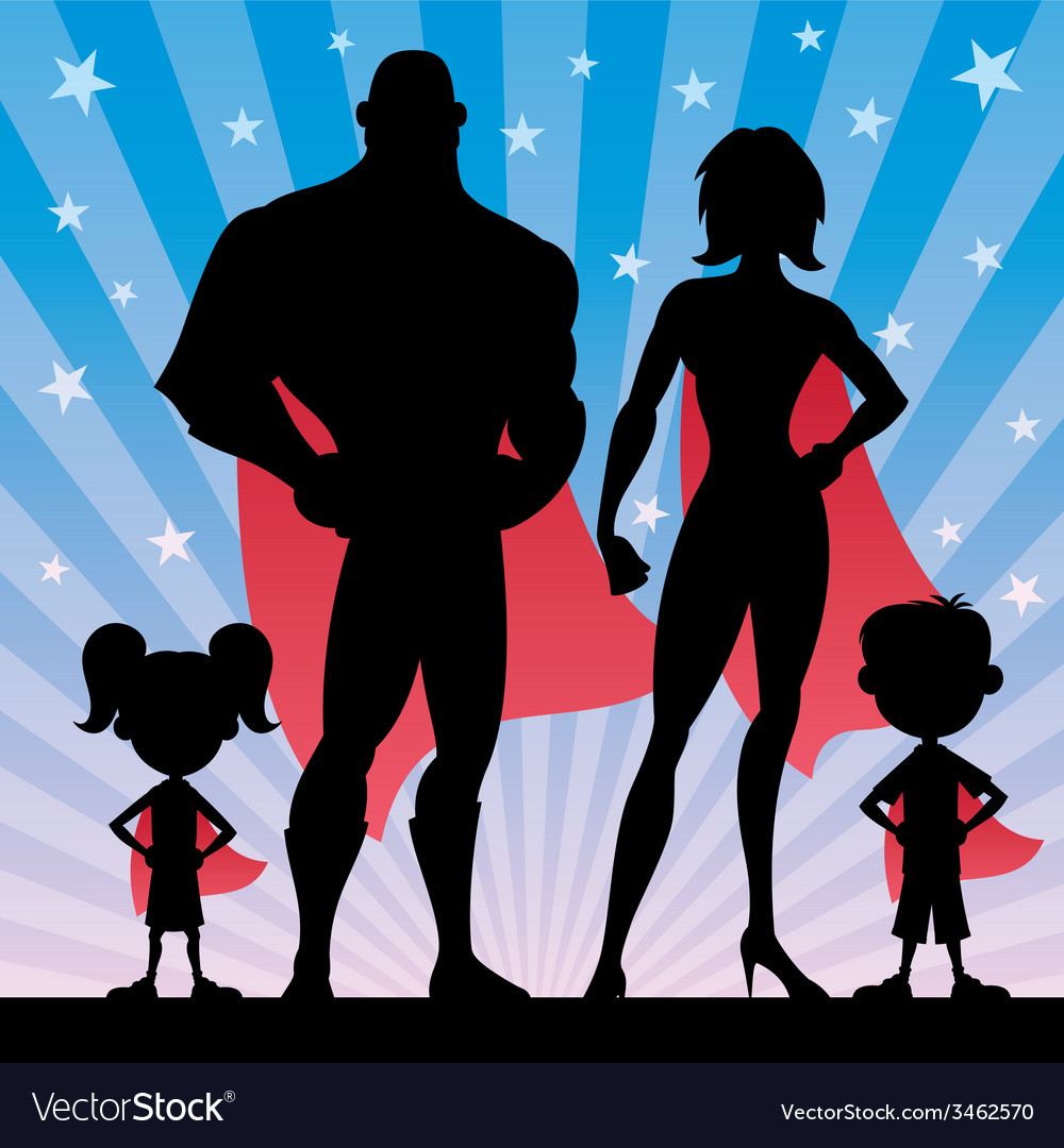 Superhero family vector | Price: 1 Credit (USD $1)