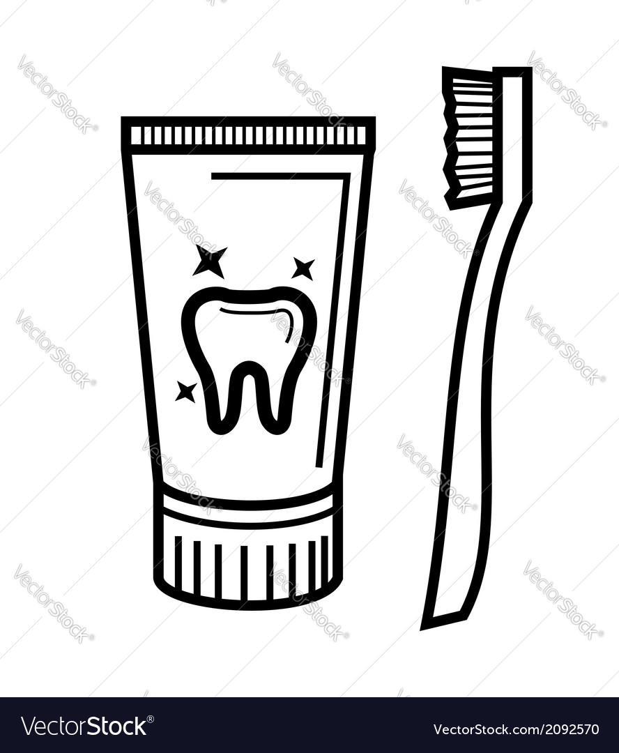 Toothbrush and toothpaste vector | Price: 1 Credit (USD $1)