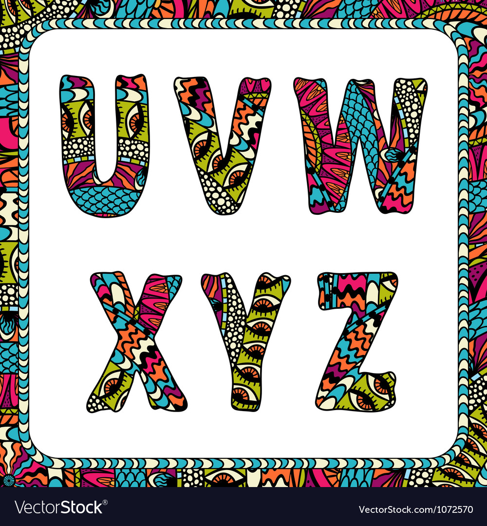 U v w x y z letters of alphabet with ethnic motifs vector | Price: 1 Credit (USD $1)