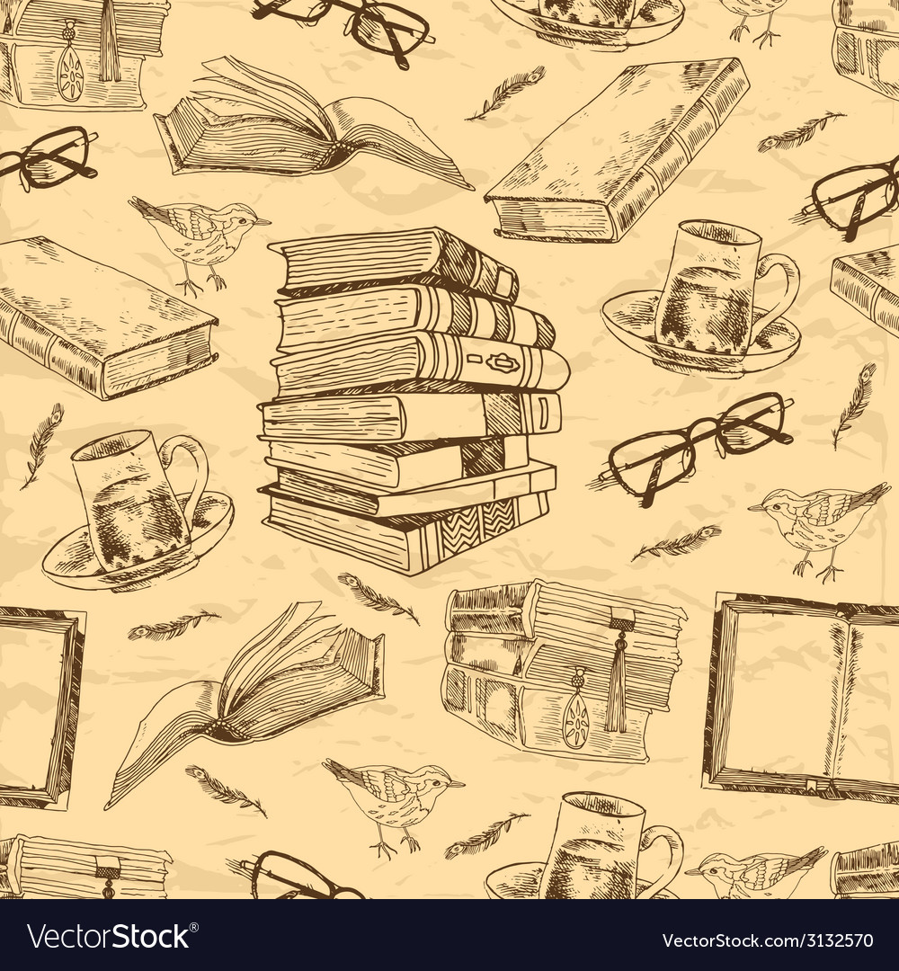 Vintage books seamless pattern vector | Price: 1 Credit (USD $1)
