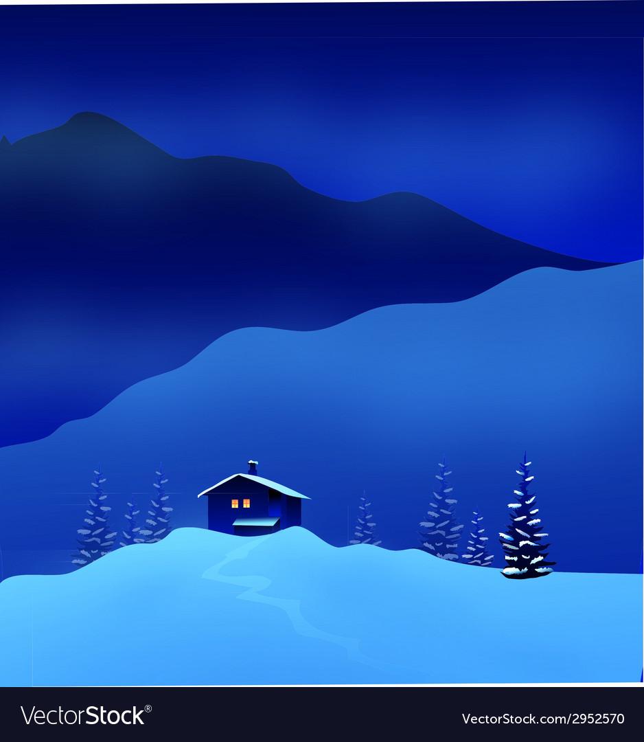Winter night landscape vector | Price: 1 Credit (USD $1)