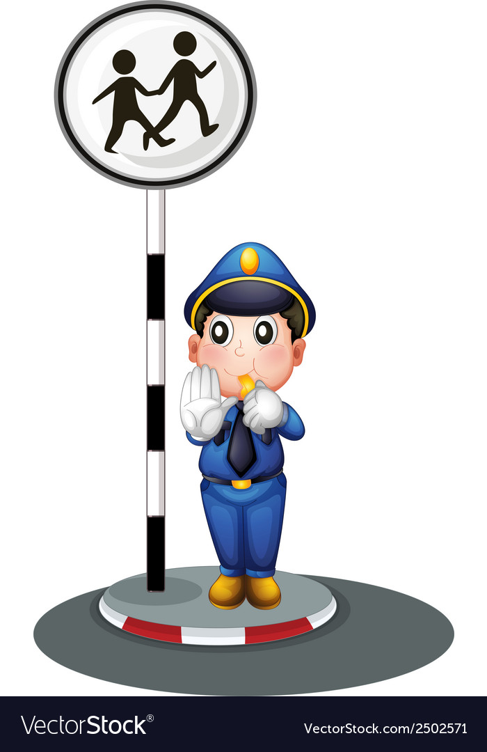 A policeman beside the street signage vector | Price: 1 Credit (USD $1)