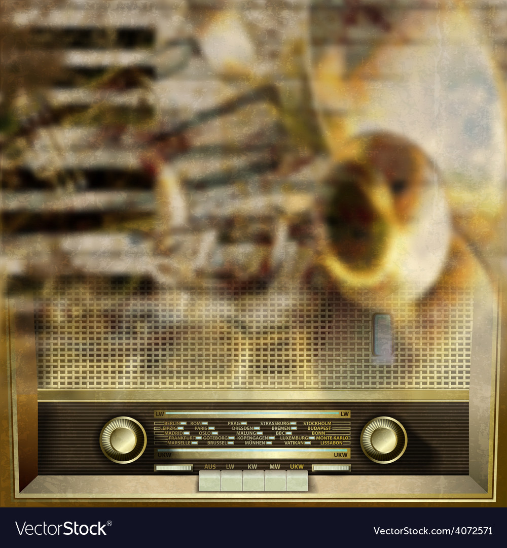 Abstract grunge background with retro radio and vector | Price: 1 Credit (USD $1)