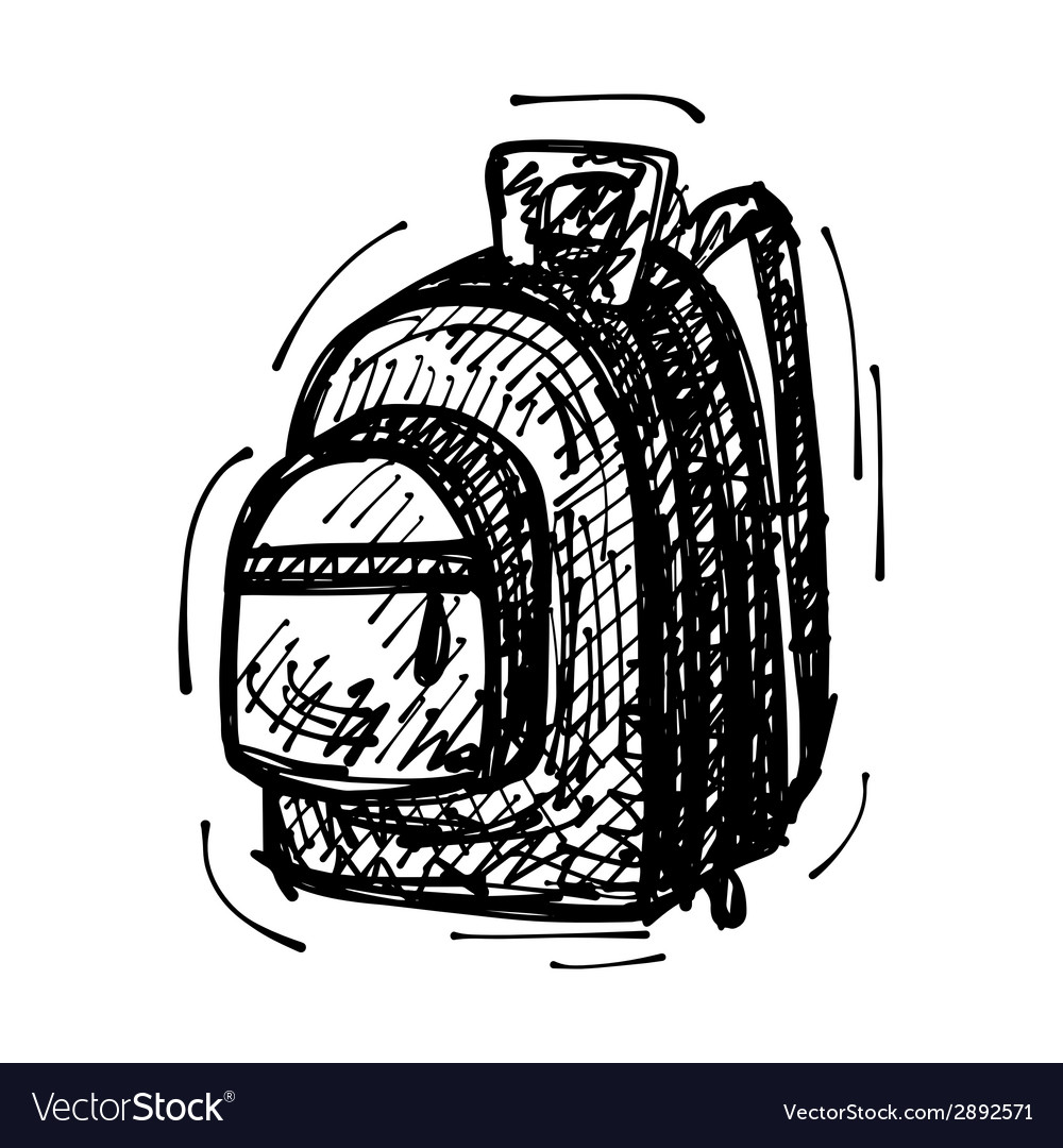Black sketch drawing of backpack vector | Price: 1 Credit (USD $1)