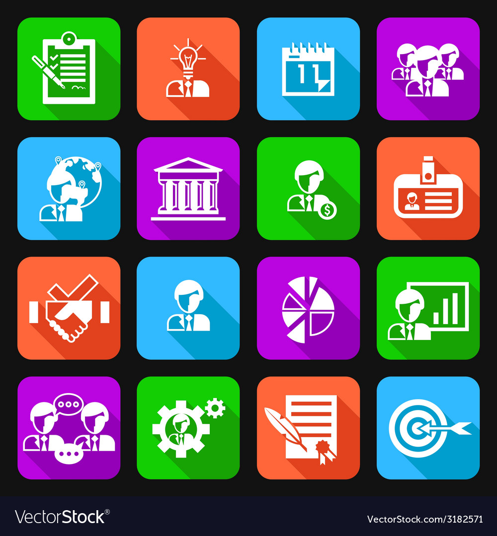 Business management icons flat vector | Price: 1 Credit (USD $1)