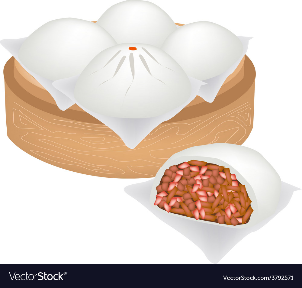 Chinese steamed pork bun on bamboo basket vector | Price: 1 Credit (USD $1)