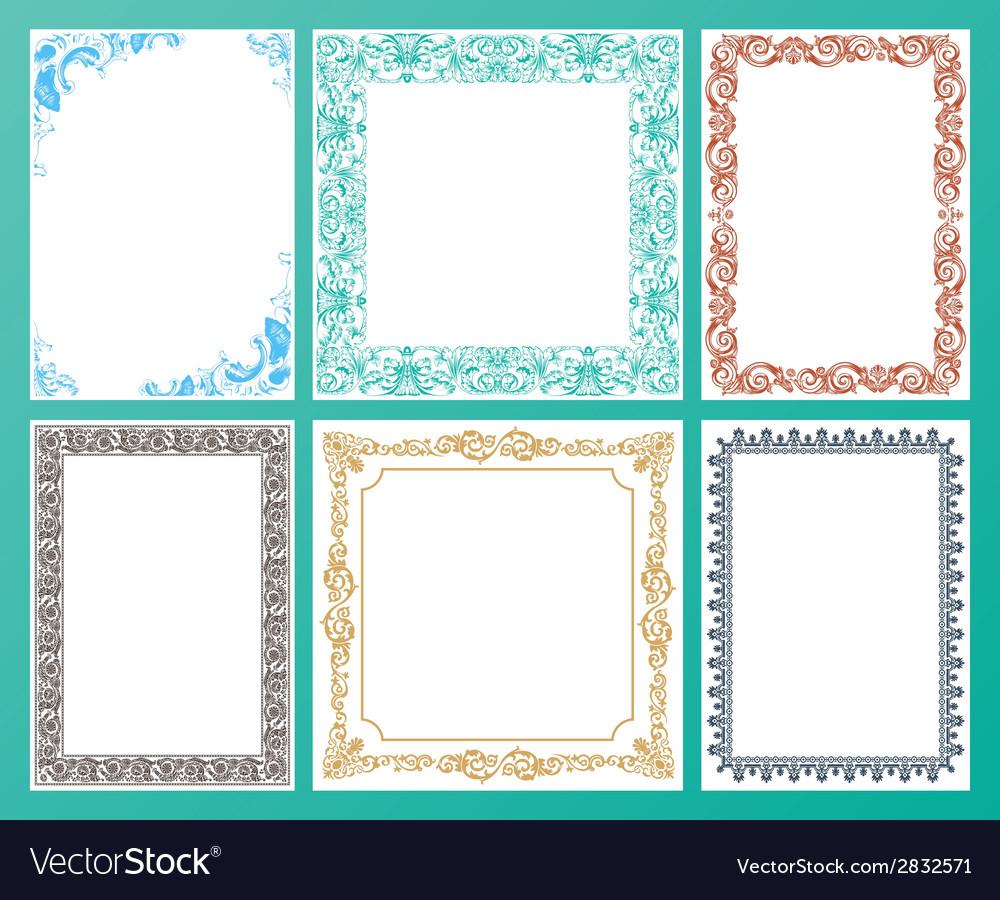 Color set ornate frames and vintage scroll vector | Price: 1 Credit (USD $1)