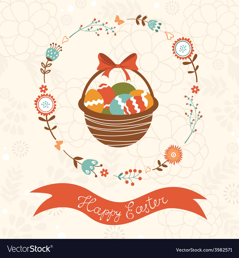 Cute easter card with basket vector | Price: 1 Credit (USD $1)