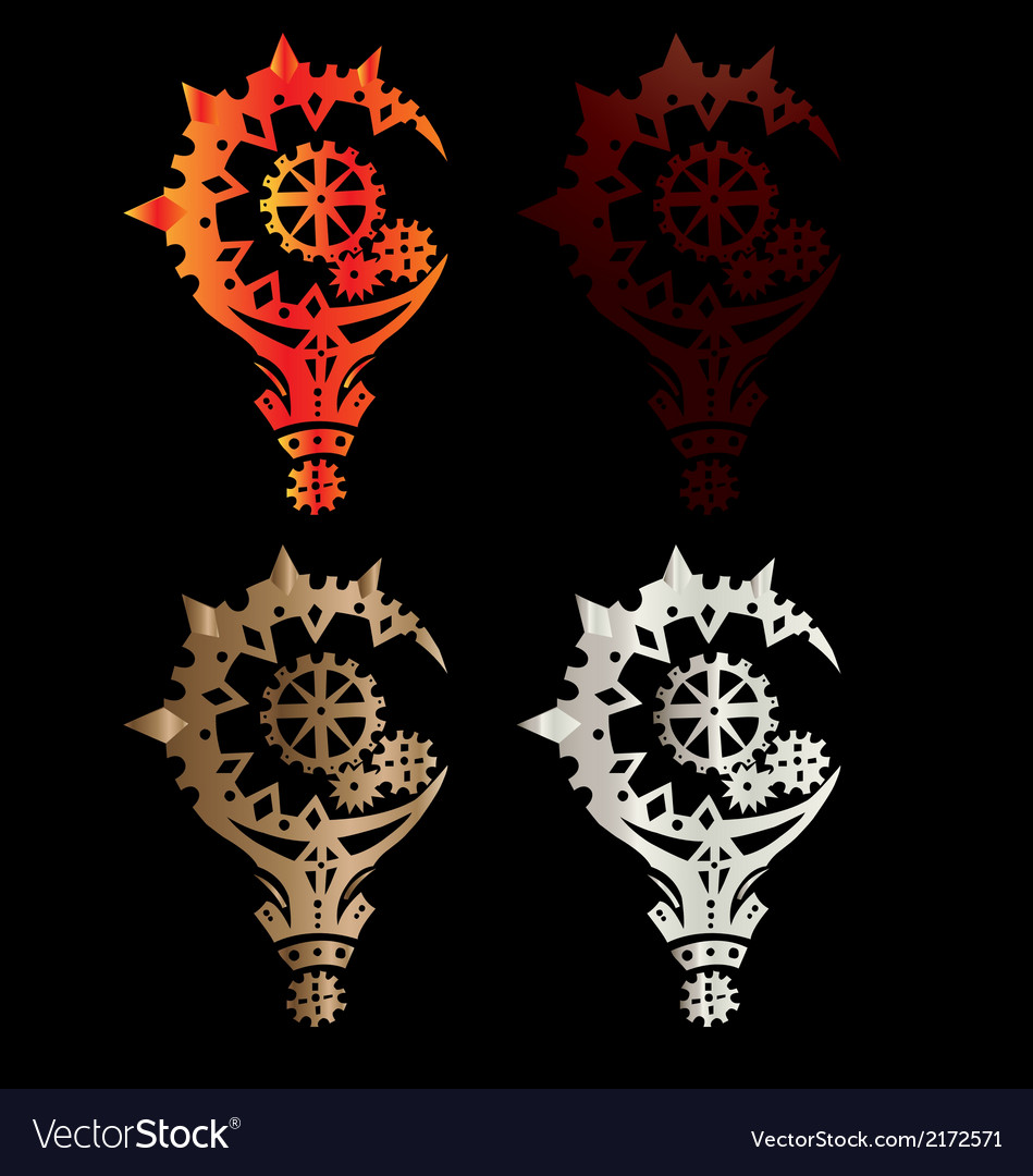 Isolated wood mace cog as symbol of power tattoo vector | Price: 1 Credit (USD $1)
