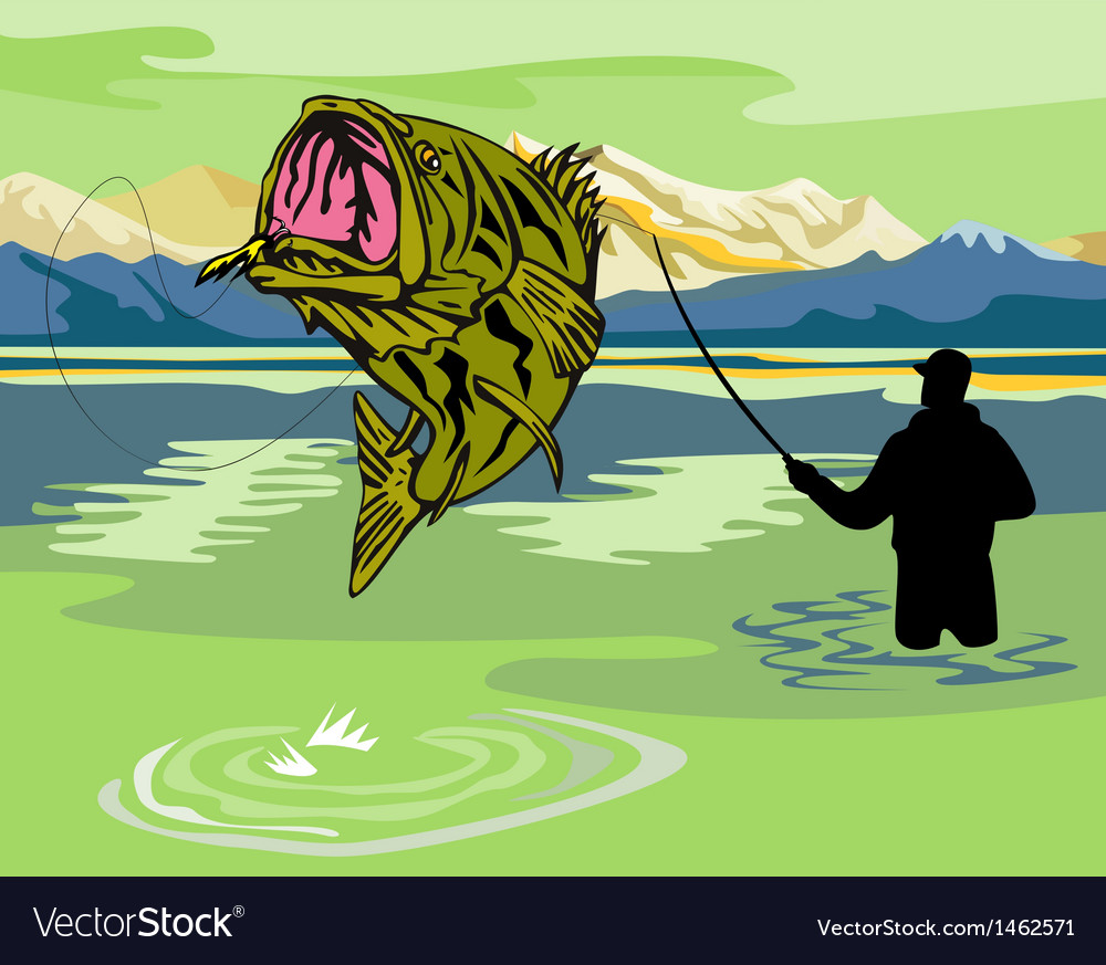 Largemouth bass jumping vector | Price: 1 Credit (USD $1)